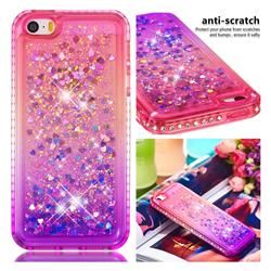 Diamond Frame Liquid Glitter Quicksand Sequins Phone Case for iPhone SE 5s 5 - Pink Purple