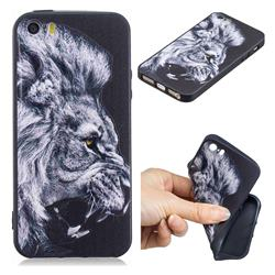 Lion 3D Embossed Relief Black TPU Cell Phone Back Cover for iPhone SE 5s 5