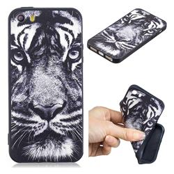 White Tiger 3D Embossed Relief Black TPU Cell Phone Back Cover for iPhone SE 5s 5