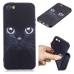 Bearded Feline 3D Embossed Relief Black TPU Cell Phone Back Cover for iPhone SE 5s 5