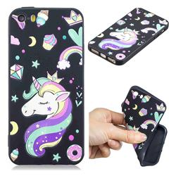 Candy Unicorn 3D Embossed Relief Black TPU Cell Phone Back Cover for iPhone SE 5s 5