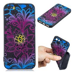Colorful Lace 3D Embossed Relief Black TPU Cell Phone Back Cover for iPhone SE 5s 5