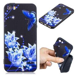Blue Butterfly 3D Embossed Relief Black TPU Cell Phone Back Cover for iPhone SE 5s 5