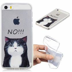 Cat Say No Clear Varnish Soft Phone Back Cover for iPhone SE 5s 5