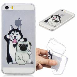 Selfie Dog Clear Varnish Soft Phone Back Cover for iPhone SE 5s 5