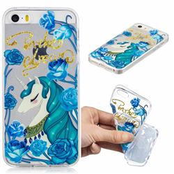Blue Flower Unicorn Clear Varnish Soft Phone Back Cover for iPhone SE 5s 5