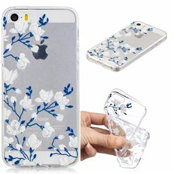Magnolia Flower Clear Varnish Soft Phone Back Cover for iPhone SE 5s 5