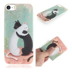 Black and White Cat IMD Soft TPU Cell Phone Back Cover for iPhone SE 5s 5