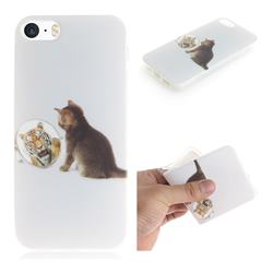 Cat and Tiger IMD Soft TPU Cell Phone Back Cover for iPhone SE 5s 5