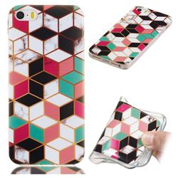 Three-dimensional Square Soft TPU Marble Pattern Phone Case for iPhone SE 5s 5