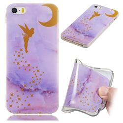 Elf Purple Soft TPU Marble Pattern Phone Case for iPhone SE 5s 5