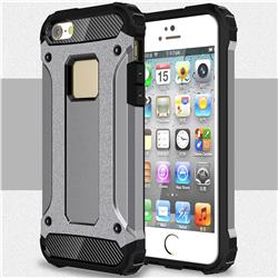 King Kong Armor Premium Shockproof Dual Layer Rugged Hard Cover for iPhone SE 5s 5 - Silver Grey