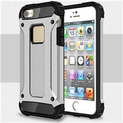 King Kong Armor Premium Shockproof Dual Layer Rugged Hard Cover for iPhone SE 5s 5 - Technology Silver
