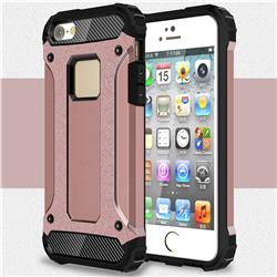 King Kong Armor Premium Shockproof Dual Layer Rugged Hard Cover for iPhone SE 5s 5 - Rose Gold