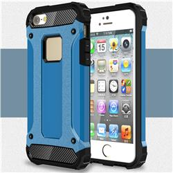 King Kong Armor Premium Shockproof Dual Layer Rugged Hard Cover for iPhone SE 5s 5 - Sky Blue