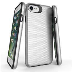 Triangle Texture Shockproof Hybrid Rugged Armor Defender Phone Case for iPhone SE 5s 5 - Silver