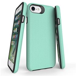 Triangle Texture Shockproof Hybrid Rugged Armor Defender Phone Case for iPhone SE 5s 5 - Mint Green