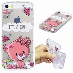 Cute Cat Super Clear Soft TPU Back Cover for iPhone SE 5s 5