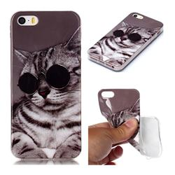Kitten with Sunglasses Soft TPU Cell Phone Back Cover for iPhone SE 5s 5