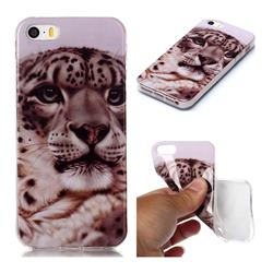 White Leopard Soft TPU Cell Phone Back Cover for iPhone SE 5s 5