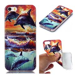 Flying Dolphin Soft TPU Cell Phone Back Cover for iPhone SE 5s 5