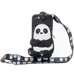 Cute Panda Neck Lanyard Zipper Wallet Silicone Case for iPhone SE 5s 5