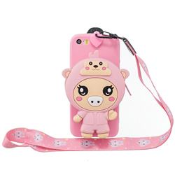 Pink Pig Neck Lanyard Zipper Wallet Silicone Case for iPhone SE 5s 5