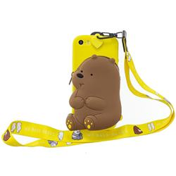 Yellow Bear Neck Lanyard Zipper Wallet Silicone Case for iPhone SE 5s 5