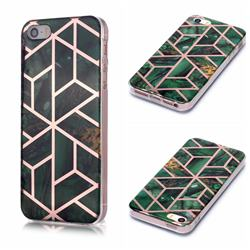 Green Rhombus Galvanized Rose Gold Marble Phone Back Cover for iPhone SE 5s 5