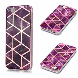 Purple Rhombus Galvanized Rose Gold Marble Phone Back Cover for iPhone SE 5s 5