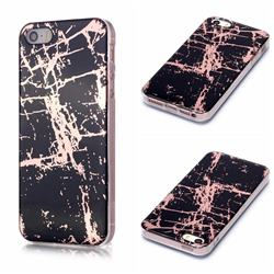 Black Galvanized Rose Gold Marble Phone Back Cover for iPhone SE 5s 5
