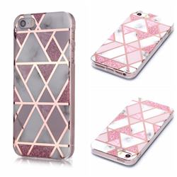 Pink Rhombus Galvanized Rose Gold Marble Phone Back Cover for iPhone SE 5s 5