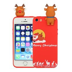 Moon Santa and Elk Christmas Xmax Soft 3D Doll Silicone Case for iPhone SE 5s 5