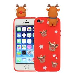 Elk Snowflakes Christmas Xmax Soft 3D Doll Silicone Case for iPhone SE 5s 5