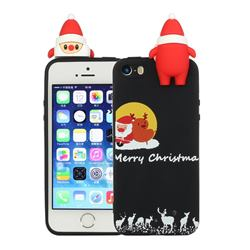 Santa Elk on Moon Christmas Xmax Soft 3D Doll Silicone Case for iPhone SE 5s 5