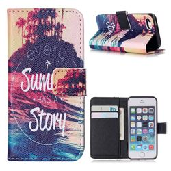 Summer Story Leather Wallet Case for iPhone 5s / iPhone 5
