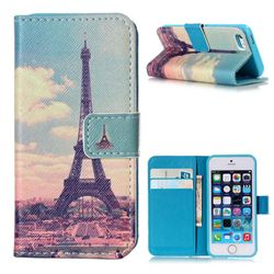 Vintage Eiffel Tower Leather Wallet Case for iPhone 5s / iPhone 5