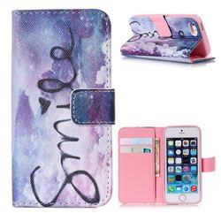 Smile Mood Leather Wallet Case for iPhone 5s / iPhone 5