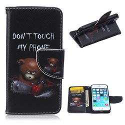 Chainsaw Bear Leather Wallet Case for iPhone 5s / iPhone 5