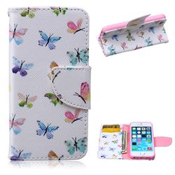 Colored Butterflies Leather Wallet Case for iPhone 5s / iPhone 5