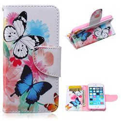 Vivid Flying Butterflies Leather Wallet Case for iPhone 5s / iPhone 5