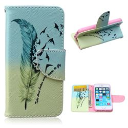 Feather Bird Leather Wallet Case for iPhone 5s / iPhone 5
