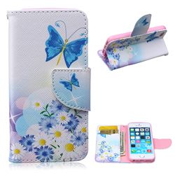 Butterflies Flowers Leather Wallet Case for iPhone 5s / iPhone 5