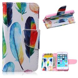 Colored Feather Leather Wallet Case for iPhone 5s / iPhone 5
