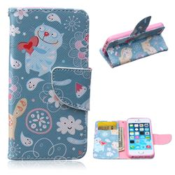 Loving Cat Leather Wallet Case for iPhone 5s / iPhone 5