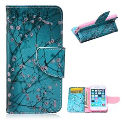 Blue Plum Leather Wallet Case for iPhone 5s / iPhone 5