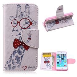 Glasses Giraffe Leather Wallet Case for iPhone 5s / iPhone 5