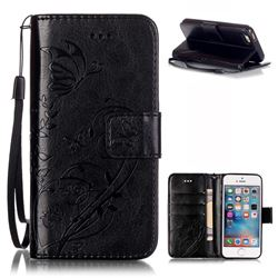 Embossing Butterfly Flower Leather Wallet Case for iPhone SE / iPhone 5s / iPhone 5 - Black