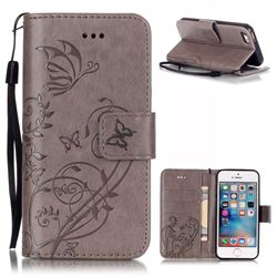 Embossing Butterfly Flower Leather Wallet Case for iPhone SE / iPhone 5s / iPhone 5 - Grey