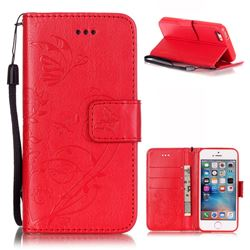 Embossing Butterfly Flower Leather Wallet Case for iPhone SE / iPhone 5s / iPhone 5 - Red